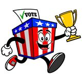 Ballot Box Mascot Running with Trophy Stock Photo