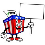 Ballot Box Mascot with Sign Stock Image