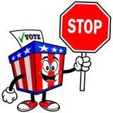 Ballot Box Mascot with Stop Sign Stock Photo