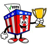 Ballot Box Mascot with Trophy Royalty Free Stock Image