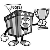 Ballot Box Mascot with Trophy Illustration Stock Images