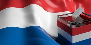 Ballot box on Netherlands flag background, 3d illustration. Glass ballot box on Netherlands flag background, 3d illustration Stock Photography