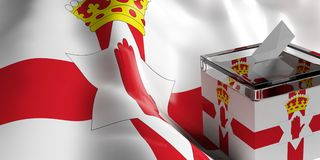 Ballot box on Northern Ireland flag background, 3d illustration. Glass ballot box on Northern Ireland flag background, 3d illustration Royalty Free Stock Photos