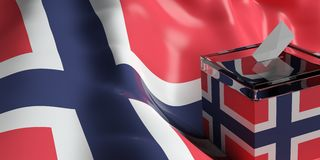 Ballot box on Norway flag background, 3d illustration. Glass ballot box on Norway flag background, 3d illustration Stock Photo