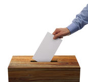 Ballot box. With person casting vote on blank voting slip