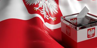 Ballot box on Poland flag background, 3d illustration. Glass ballot box on Poland flag background, 3d illustration Royalty Free Stock Photography