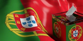 Ballot box on Portugal flag background, 3d illustration. Glass ballot box on Portugal flag background, 3d illustration Stock Photos