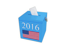 BALLOT BOX. Render illustration of ballot box with the print 2016 and the United States flag Royalty Free Stock Photos
