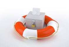 Ballot box and rescue buoy Stock Photos
