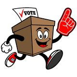 Ballot Box Running with Foam Finger Stock Images