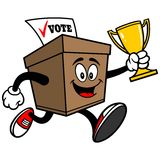 Ballot Box Running with Trophy Stock Images