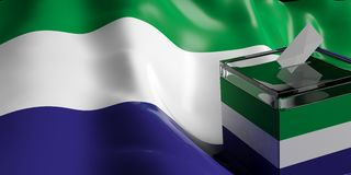 Ballot box on Sierra Leone flag background, 3d illustration. Glass ballot box on Sierra Leone flag background, 3d illustration Royalty Free Stock Photo
