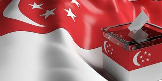 Ballot box on Singapore flag background, 3d illustration. Glass ballot box on Singapore  flag background, 3d illustration Stock Images