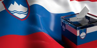 Ballot box on Slovenia flag background, 3d illustration. Glass ballot box on Slovenia flag background, 3d illustration Royalty Free Stock Photo