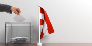 Ballot box and a small Austria flag. 3d illustration Royalty Free Stock Photos