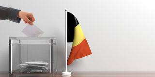 Ballot box and a small Belgium flag. 3d illustration Royalty Free Stock Images