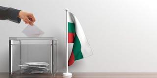 Ballot box and a small Bulgaria flag. 3d illustration Stock Photography