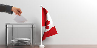 Ballot box and a small Canada flag. 3d illustration. Glass ballot box and a small Canada flag. 3d illustration Royalty Free Stock Photos