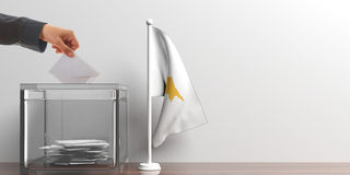 Ballot box and a small Cyprus flag. 3d illustration Stock Photo