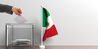 Ballot box and a small Mexico flag. 3d illustration. Glass ballot box and a small Mexico flag. 3d illustration Stock Images