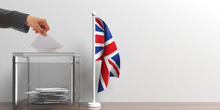 Ballot box and a small UK flag. 3d illustration Stock Photo