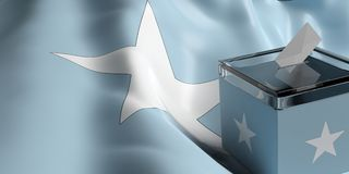 Ballot box on Somalia flag background, 3d illustration. Glass ballot box on Somalia flag background, 3d illustration Royalty Free Stock Photos