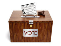Ballot box. Stamp and ballot paper on white background Stock Photos
