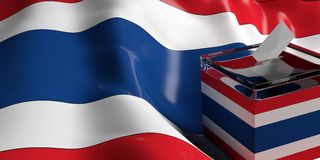 Ballot box on Thailand flag background, 3d illustration. Glass ballot box on Thailand flag background, 3d illustration Royalty Free Stock Photography