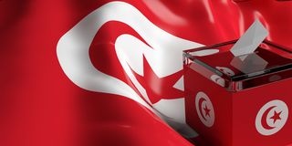 Ballot box on Tunisia flag background, 3d illustration. Glass ballot box on Tunisia flag background, 3d illustration Stock Photos