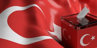 Ballot box on Turkey flag background, 3d illustration. Glass ballot box on Turkey flag background, 3d illustration Stock Photo