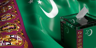 Ballot box on Turkmenistan flag background, 3d illustration. Glass ballot box on Turkmenistan flag background, 3d illustration Royalty Free Stock Photo
