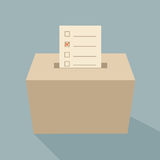 Ballot box vote. On bule background Royalty Free Stock Images
