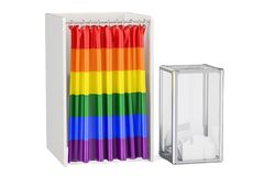 Ballot box and voting booths with LGBT flag, 3D rendering Royalty Free Stock Photo
