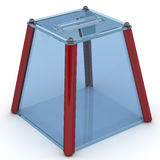 Ballot box for voting. Transparent ballot box to vote is on the white surface. Isolated. 3D Illustration Stock Image