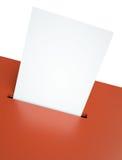Ballot paper. Blank ballot paper in a red ballot box slot. 3D render Stock Photography