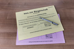 Ballot Papers for Election in Hamburg 2015 Royalty Free Stock Images