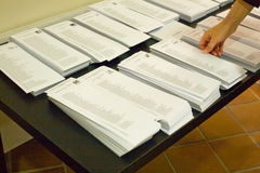 Ballot sheets table Stock Photography