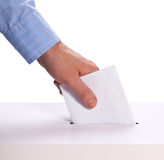 Ballot voting. A ballot is cast isolated on white  background Stock Images