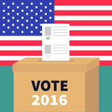 Ballot Voting box with paper blank bulletin concept. Polling station. President election day Vote 2016. American flag on the wall. Green background Flat Royalty Free Stock Photos