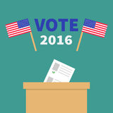 Ballot Voting box with paper blank bulletin concept. Polling station. President election day Vote 2016. Crossed American flag set.  Green background Flat Royalty Free Stock Image