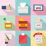 Ballot voting box vote icons set, flat style royalty free illustration