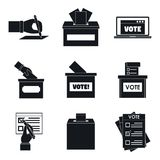 Ballot voting box vote icons set, simple style vector illustration
