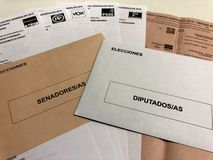 Ballots in brown and white for spanish presidential elections 2019 stock image