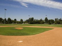 Ballpark. The pitchers view on a summer day Stock Images