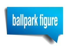 Ballpark figure blue 3d speech bubble. Ballpark figure blue 3d square isolated speech bubble Stock Image