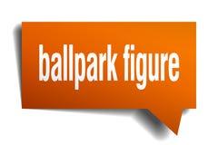 Ballpark figure orange 3d speech bubble. Ballpark figure orange 3d square isolated speech bubble Stock Photos