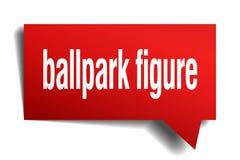 Ballpark figure red 3d speech bubble. Ballpark figure red 3d square isolated speech bubble Royalty Free Stock Photography