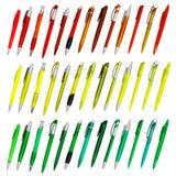 ballpoint χρωματισμένες απομονωμένες πέννες Στοκ φωτογραφίες με δικαίωμα ελεύθερης χρήσης