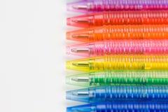 Ballpoint in acht kleuren stock fotografie