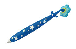 Ballpoint blue pen with white stars. A ballpoint pen is a modern writing instrument. A ballpoint pen has an internal chamber filled with a viscous ink that is Royalty Free Stock Image
